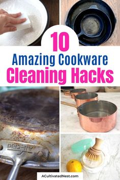 These are the 10 best cookware cleaning tips that will leave your pots and pans looking brand new! They're all so easy to do! Diy Cleaning Products, Cleaning Hacks, Deep Cleaning, Clean Stainless Steel Pans, Clean Burnt Pots, Cleaning Cast Iron Pans, Copper Cleaner, How To Clean Copper, Enamel Cookware