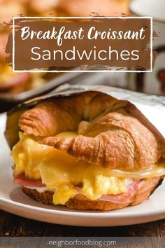 These Breakfast Croissant Sandwiches are loaded up with soft scrambled eggs, ham, and melted Swiss cheese for an easy baked breakfast sandwich that rivals any restaurant!