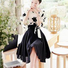bordado de duas peças vestido magro das mulheres (cor aleatória) - BRL R$ 54,69