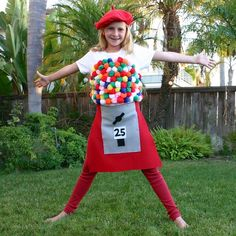This cute gumball machine is an easy, no-sew DIY Halloween costume.