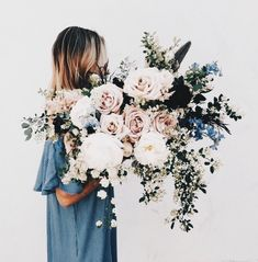 denim blue, white, dull green, and blush bouquet of flowers My Flower, Wild Flowers, Beautiful Flowers, Big Bouquet Of Flowers, Beautiful Smile, Floral Flowers, Floral Wedding, Wedding Bouquets, Wedding Flowers