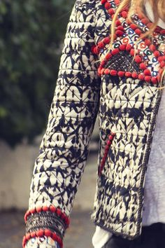 Isabel Marant jacket. Boho style. Beige blue and red. Fashion Trend.