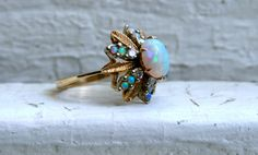 Retro Vintage Leafy 14K Yellow Gold Opal and Diamond by GoldAdore