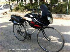 Nice looking bike looks like a motorcycle  (bicycle looking like motorcycle)