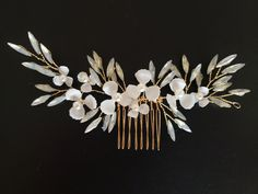 Bridal Hair Comb, Pearl Crystal Flower Wedding Hair Pins, Hair Jewelry Hair Vine Wedding Hair Accessory, Rose Gold Wire Wrap, Iridescent