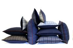 Masculine menswear tailored throw pillows cushions for interior design from Sartorial Home made in Britain  http://sartorialhome.co.uk/shop/bermondsey.html