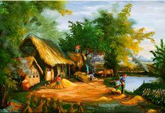 Oil Pastel Paintings, Nature Paintings, Beautiful Paintings, Beautiful Landscapes, Landscape Paintings, Beautiful Photos Of Nature, Nature Photos, Watercolor Landscape, Watercolor Art
