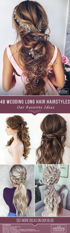 48 Our Favorite Wedding Hairstyles For Long Hair ❤ We make a list of our favorite wedding hairstyles for long hair. Look through it and pick your perfect variant to become the most beautiful bride. See more: http://www.weddingforward.com/favorite-wedding-hairstyles-long-hair/ #weddings #hairstyles #bridalhairstyle #favoriteweddinghairstyleslonghair