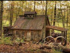 Sugar Shack by Sunset Sailor Old Cottage, Cottage In The Woods, Cabins In The Woods, House In The Woods, Little Cottages, Cabins And Cottages, Little Houses, Old Cabins, Log Cabin Homes