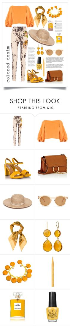 """""""Senza titolo #6177"""" by waikiki24 ❤ liked on Polyvore featuring Gucci, TIBI, Fratelli Karida, Chloé, Collection XIIX, Le Specs, Salvatore Ferragamo, Too Faced Cosmetics, Chanel and OPI"""