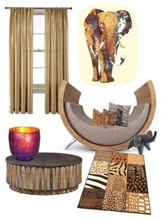 """Safari"" by kayearnold on Polyvore featuring interior, interiors, interior design, home, home decor, interior decorating, Royal Velvet, Cultural Intrigue and Jonathan Adler"