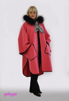 Maxi Wool Cape Coat/Cloak/Extravagant Leather Hooded by GABYGA
