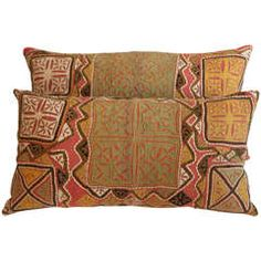 Indian Applique Pillow, Olive