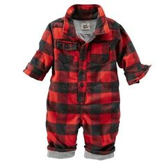 Baby Boy Jersey-Lined Buffalo Check Coveralls from OshKosh B'gosh. Baby Outfits, Toddler Outfits, Kids Outfits, Baby G, Baby Boys, Girl Toddler, Baby Boy Fashion, Kids Fashion, Niñas Carters Baby