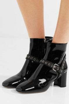 Miu Miu - Eyelet-embellished Patent-leather Ankle Boots - Black - IT