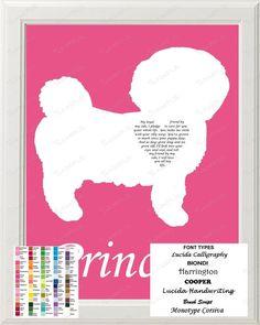 personalized bichon frise silhouette art bichon frise love poem gift 8 x 10 print bichon frise - Frise Vinyle