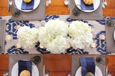 Love this simple table setting, with some fabric and flowers!
