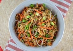 PF Chang's is one of my favorite places and I love their Fried Rice! It's really pretty easy to make and your whole family will love it! This recipe is ready in less than 30 minutes and you can add chicken to it to make it a meal. Best Fried Rice Recipe, Chicken Fried Rice Recipe Easy, Veggie Fried Rice, Fast Chicken Recipes, Easy Rice Recipes, Asian Recipes, Healthy Recipes, Healthy Cooking, Cooking Recipes