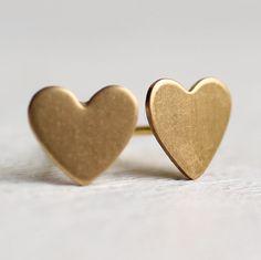 Heart Earrings ... Love Cupid Tiny Gold Post by SilkPurseSowsEar
