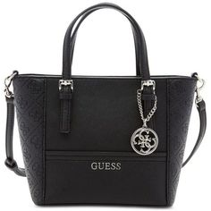 Guess Delaney Petite Tote with Crossbody Strap (91 AUD) ❤ liked on Polyvore featuring bags, handbags, tote bags, black embossed, black tote, crossbody purse, black crossbody, mini crossbody and black cross body purse