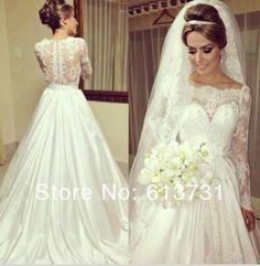 Dantel Gelinlik 2014 Vintage Bateau Neck Off the Shoulder Long Sleeves Lace Wedding Dresses Bridal Gowns Covered Button Back