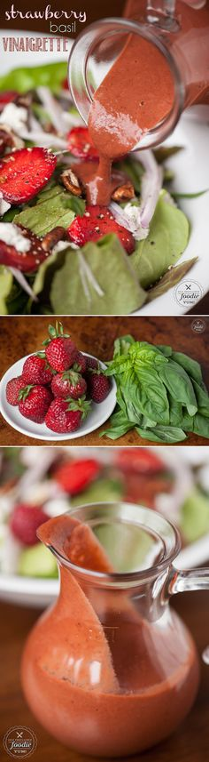 This Strawberry Basil Vinaigrette made with fresh strawberries and basil is a fresh, easy, and healthy dressing to top your summer green salads.