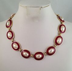 Monet Red Enamel Necklace Faux Pearls Gold by GrapenutGlitzJewelry