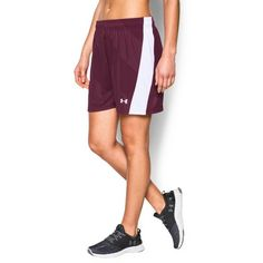 Under Armour Women's UA Fixture Soccer Shorts ($25) ❤ liked on Polyvore featuring activewear, activewear shorts, maroon, under armour sportswear and under armour
