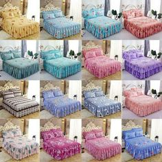 Advertisement - Bed Skirt Princess Bedspread Bedding Sheets Single Double Pillow Case Non-slip King Size Sheets, Bed Sheets, King Size Coverlets, Duvet, Bedding, Back To Home, Quilted Bedspreads, Bed Covers, Bed Spreads
