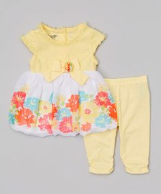 Look what I found on #zulily! Yellow Floral Cap-Sleeve Dress & Leggings - Infant & Toddler #zulilyfinds
