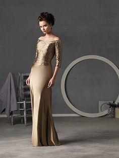 Image detail for -Wedding Fashion » Gold Off-the-Shoulder Elbow Sleeves Column Floor ...