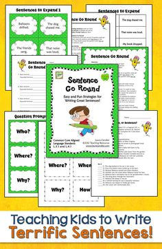 Teach your students to write terrific sentences with Sentence Go Round! Task cards, printables, and directions included. Aligned with CCSS L.3.1 and L.4.1 Great review for 5th or 6th grade, too! $ #LauraCandler
