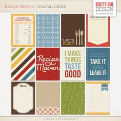 Recipe Maven is for food lovers who like to cook and bake, or for those of us who like to collect yummy recipes on Pinterest. Included in this perfectly coordinated kit is everything you need to create your own easy-to-use, handmade recipe book or to help turn your favorite recipes into a beautiful family heirloom. Includes twelve 3x4* cards%...