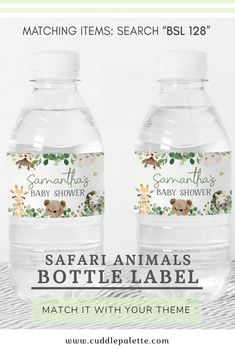 """Print the Waterbottle label right from your computer at home or to your favorite local print shops.You will receive:∙ Waterbottle Label 8.5""""x2.12""""∙ 4 labels in 8.5""""x11"""" sheet (PDF file)∙ High Resolution (300 DPI) #BabyShower #BottleLabel #BabyShowerDecor #SafariAnimals #JungleSafari Shower Favors, Shower Party, Baby Shower Parties, Shower Invitations, Baby Showers, Baby Shower Gifts, Jungle Safari, Safari Animals, Gender Neutral Baby"""
