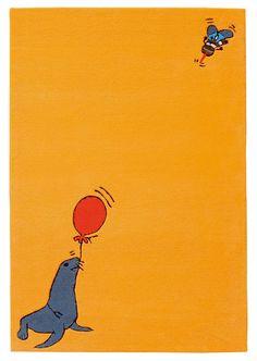 Arte Espina kindervloerkleed Sammie de Zeehond, anti-allergeen. | Animal kids rug for nursery, in orange with seal. Anti Allergic.