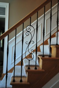 interior staircase - traditional - staircase - chicago - Jusalda custom stairs Inc, Iron Staircase, Wrought Iron Stairs, Interior Staircase, Staircase Remodel, Staircase Railings, Banisters, Staircases, Wood Railing, Wood Stairs