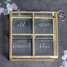 A beautiful square glass compartment box etched with the words 'something old, something new, something borrowed, something blue'. A stylish and beautiful addition to the home, this glass box would m. Wedding Memory Box, Wedding Keepsake Boxes, Wedding Keepsakes, Wedding Boxes, Diy Wedding, Wedding Gifts, Bella Wedding, Wedding Hacks, Wedding Decor