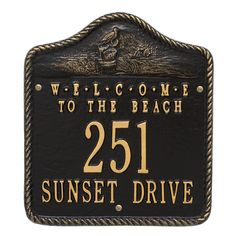 """Personalized """"Welcome to the Beach"""" Nautical Address Plaque - Two Lines. Available now at the best price only at www.everythingnautical.com #Nautical #Home #Decor #Gifts"""