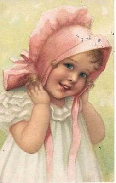 Sweet smiling little girl in pink bonnet