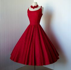 vintage 1950s dress ...designer JONATHAN LOGAN red cotton lace with satin trim full circle skirt rockabilly pin-up cocktail dress