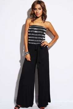 My newest Purchase!! Everyone needs to check out this website! :)    #1015store.com #fashion #style black silver sequin striped sash tie party jumpsuit-$20.00