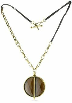"""Paige Novick """"Vail"""" Leather Link and Stone Medallion Necklace Paige Novick. $500.00. proudly handmade in Manhattan. rose cut glass stone medallion. Total weight is 130 grams. chain with a pave rondel. Made in USA"""