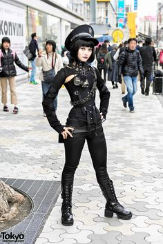 Alice's dark gothic steampunk look includes a black cutout top from Ozz On with vinyl pants an. Tokyo Street Fashion, Fashion 90s, Tokyo Street Style, Japanese Street Fashion, Harajuku Fashion, Moda Fashion, Asian Fashion, Street Mall, Fashion Outfits