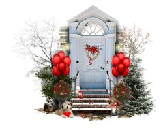 """Wall, Door, Steps and Valentine Flowers"" by giudittina ❤ liked on Polyvore featuring art and valentine"