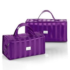 Joy Mangano Beauty Case Set in Purple Satin Stripe www.thecarmacouture.com, Facebook - Carma Couture, Twitter -@Carma Couture