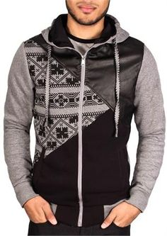 Faux Leather Graphic Hoodie from Retro Distrikt Heather Grey