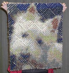It looks like my Stampy!!! This is a quilt, made by Tammie Bowser, out of chenille from a photo.
