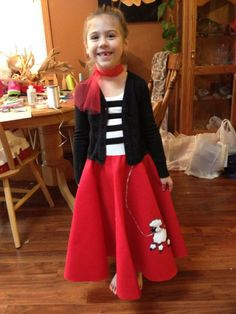 Made for my niece for day at school :) Diy Costumes, 1950s Costumes, Halloween Costumes, Retro Fashion, Kids Fashion, Vintage Fashion, Sock Hop Party, 1950s Outfits, Dress Up Day