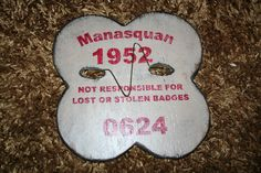 Manasquan Beach badge, jersey shore. Handmade beach badge sign from Signs by the Sea