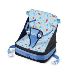 The First Years On-The-Go Booster Seat. Suprisingly compact when folded, this makes for a convenient travel high chair.
